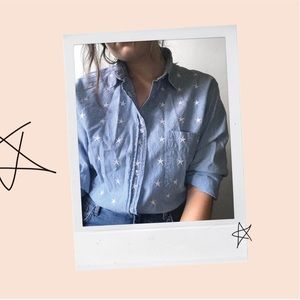 Star-embroidered chambray top